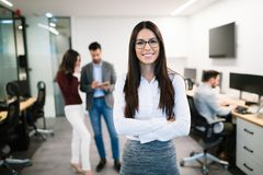 CEO of company in business offices. Portrait of female smiling company ceo in office royalty free stock images