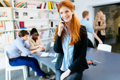 CEO of company making important phone call. In modern office royalty free stock photography
