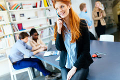 CEO of company making important phone call stock image