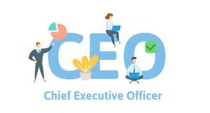 CEO, director general Concepto con palabras claves, letras, e iconos Ejemplo plano del vector Aislado en blanco ilustración del vector
