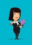 CEO do gerente da mulher de negócios que organiza usando e guardando a ilustração do portátil fotos de stock royalty free