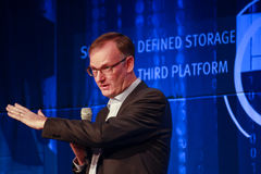 CEO EMC Information Infrastructure David Goulden makes speech at EMC World 2014 Royalty Free Stock Image
