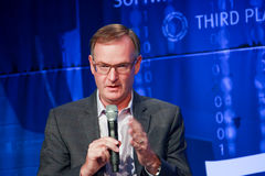 CEO EMC Information Infrastructure David Goulden makes speech at EMC World 2014 Stock Photography