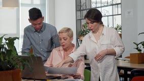 CEO fêmea maduro que fala a seus trabalhadores na sala de reunião vídeos de arquivo