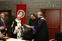 The CEO Fca Sergio Marchionne. Cassino - Italy - 24th november 2016 - The CEO Fca Sergio Marchionne in Unicas University for his laurea honorem causa royalty free stock image