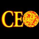 Ceo. Glossy illustration , ceo acronym ,  globe on fire Royalty Free Stock Photo