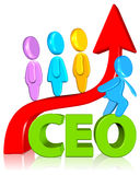 Ceo with growth chart. Business concept Three dimension style and high quality Royalty Free Stock Images