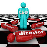 CEO Leader Chief Executive Officer Standing Chess Board Power St. CEO word or abbreviation on a person standing on a chess board as superior over lower people in Stock Image