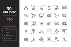 30 CEO Line Icons. High quality ceo line icons. Icons for user interfaces and web Royalty Free Stock Image