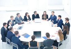 CEO listens to the speech of the employee of the company at the Royalty Free Stock Photos