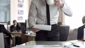 CEO maschio che guarda attraverso la documentazione ed il t? bevente, stanti nel suo ufficio fotografia stock libera da diritti