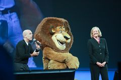 CEO Meg Whitman de HP y CEO Jeffrey Katzenberg de DreamWorks Imagenes de archivo