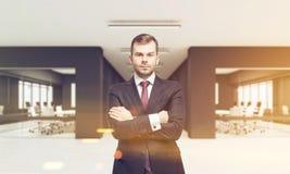 CEO no escritório com as duas salas de conferências, tonificadas Foto de Stock Royalty Free