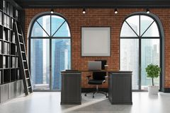 CEO office, bookcase and table, ladder side. CEO office with brick and black walls, a concrete floor, tall windows and a framed poster. A large table with a Royalty Free Stock Photo
