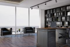 CEO office interior, bookcase, armchairs. Side view of a CEO office interior with a wooden floor, a panoramic window, a large black bookcase and a table with a Royalty Free Stock Photos