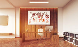 CEO office with startup poster on wooden wall Royalty Free Stock Photos