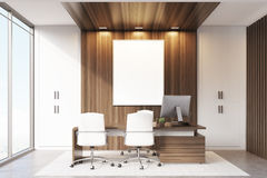 CEO office with wood and panoramic windows Stock Images