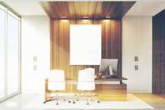CEO office with wood and panoramic windows, toned Royalty Free Stock Photo