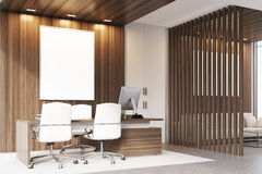 CEO office with wood and windows, corner Stock Image