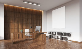 CEO office with wooden wall and poster Stock Photos