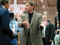 CEO of Oracle Larry Ellison gives interview to TV journalist. SAN FRANCISCO, CA - SEPT 10, 2003: CEO of Oracle Larry Ellison gives interview to TV journalist at Stock Photo
