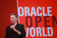 CEO of Oracle Larry Ellison makes his speech at Oracle OpenWorld conference Royalty Free Stock Photography