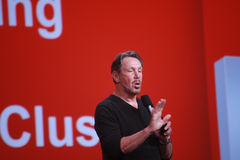 CEO of Oracle Larry Ellison makes his speech at Oracle OpenWorld conference Stock Images