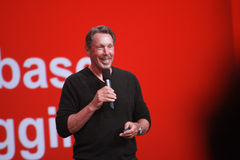 CEO of Oracle Larry Ellison makes his speech at Oracle OpenWorld conference Stock Photography