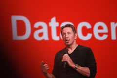 CEO of Oracle Larry Ellison makes his speech at Oracle OpenWorld conference Royalty Free Stock Photos