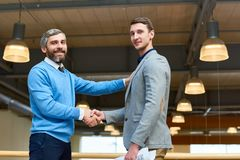 CEO Presenting Young Business Partner stock photos