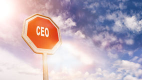 CEO on red traffic road stop sign Stock Photo