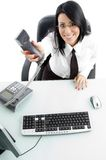 Ceo showing phone receiver Royalty Free Stock Photos