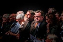 CEO van het centrum van Oracle Larry Ellison met hoogste bedrijfbeheer Stock Foto