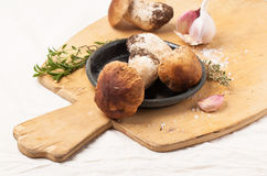 Cep mushrooms with garlic. Heap of cep mushrooms with thyme and garlic served on wooden cutting board Royalty Free Stock Photo