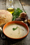 Cep soup. On bowl wirh bread on wood background Royalty Free Stock Image
