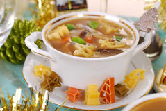 Cep soup with pasta for christmas Stock Photo