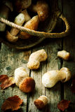 Cepes в корзине на старом деревянном столе Стоковое Изображение RF