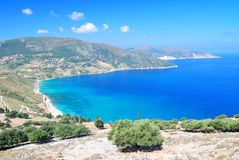 Cephalonia coast and hills Royalty Free Stock Images