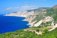 Cephalonia coast with Kipouria monastery Stock Photos