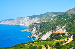 Cephalonia shore cliffs and blue coastal sea waters. Olive plantage in foreground.  Royalty Free Stock Photo