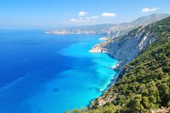 Cephalonia shore cliffs and blue sea royalty free stock image
