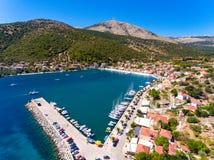 Cephalonia wyspy Agia Effimia jachtów mały portowy schronienie Zdjęcia Stock