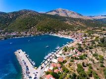 Cephalonia wyspy Agia Effimia jachtów mały portowy schronienie Obraz Royalty Free