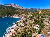 Cephalonia wyspy Agia Effimia jachtów mały portowy schronienie Obrazy Royalty Free