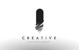 Cepillé el logotipo de la letra Diseño de letras negro del cepillo con el str del cepillo Imágenes de archivo libres de regalías