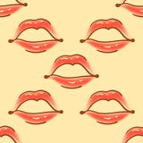 Cepille el modelo inconsútil del vector de los diversos labios exhaustos de la mujer Diversas formas atractivas de los labios Mod Imágenes de archivo libres de regalías