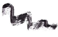 Cepille el strok de la sombra negra del rimel en blanco Fotos de archivo