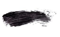 Cepille el strok de la sombra negra del rimel en blanco Fotografía de archivo