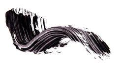 Cepille el strok de la sombra negra del rimel en blanco Imágenes de archivo libres de regalías