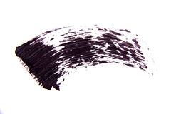 Cepille el strok de la sombra negra del rimel en blanco Imagen de archivo libre de regalías
